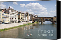 Rowers Canvas Prints - Florence Italy Arno River Ponte Veccio bridge Canvas Print by Matthias Hauser