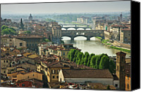Florence Canvas Prints - Florence. View Of Ponte Vecchio Over River Arno. Canvas Print by Norberto Cuenca