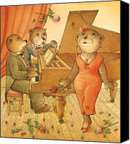 Song Drawings Canvas Prints - Florentius the Gardener03 Canvas Print by Kestutis Kasparavicius