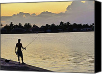 Photorealism Photo Canvas Prints - Florida Fishing At Sunset Canvas Print by Florene Welebny
