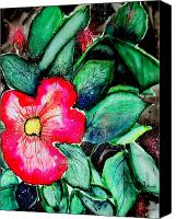 Florida Flowers Mixed Media Canvas Prints - Florida Flower Canvas Print by Margaret Fortunato