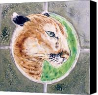 Relief Tile Ceramics Canvas Prints - Florida Panther Canvas Print by Dy Witt