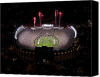Fireworks Photo Canvas Prints - Florida State Fireworks Over Doak Campbell Stadium Aerial View Canvas Print by Replay Photos