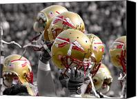 Florida State Canvas Prints - Florida State Football Helmets Canvas Print by Mike Olivella