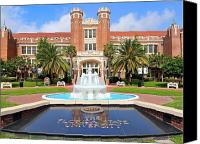 Florida State Canvas Prints - Florida State Fountain at the Westcott Building Canvas Print by Larry Novey