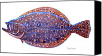Grouper  Canvas Prints - Flounder Canvas Print by Carey Chen