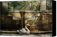Swan Canvas Prints - Flower - Wisteria - Fountain Canvas Print by Mike Savad