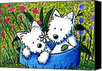 Cartoon Canvas Prints - Flower Bed Westies Canvas Print by Kim Niles
