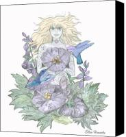 Fairies Drawings Canvas Prints - Flower Fairy Canvas Print by Ellen Henneke