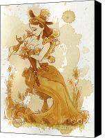 Pin-up Painting Canvas Prints - Flower Girl Canvas Print by Brian Kesinger
