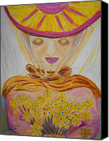 Bouquet Pastels Canvas Prints - Flower Lady Canvas Print by Serran Dalmak