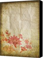 Materials Canvas Prints - Flower Pattern On Old Paper Canvas Print by Setsiri Silapasuwanchai
