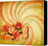 Ancient Canvas Prints - Flower Pattern Retro Style Canvas Print by Setsiri Silapasuwanchai