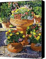 Flower Pots Canvas Prints - Flower Pots in Sunlight Canvas Print by David Lloyd Glover