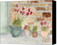 Brick Canvas Prints - Flower Pots Canvas Print by Ken Powers