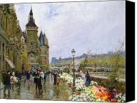 Architecture Painting Canvas Prints - Flower Sellers by the Seine Canvas Print by Georges Stein