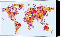 Rose Digital Art Canvas Prints - Flower World Map Canvas Print by Michael Tompsett