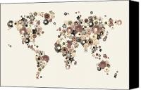 Map Art Digital Art Canvas Prints - Flower World Map Sepia Canvas Print by Michael Tompsett