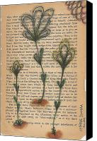 Freehand Drawing Canvas Prints - Flowers Among Dirt Canvas Print by Katherine Stockham