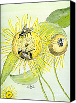 Insects Painting Canvas Prints - Flowers and Bees Canvas Print by Eva Ason