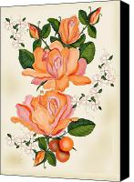 Peach Colored Canvas Prints - Flowers for Helen Canvas Print by Anne Norskog