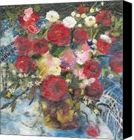 Signed Mixed Media Canvas Prints - Flowers in a basket Canvas Print by Nira Schwartz