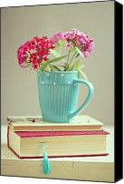 Israel Canvas Prints - Flowers In Blue Cup On Two Books Canvas Print by Copyright Anna Nemoy(Xaomena)