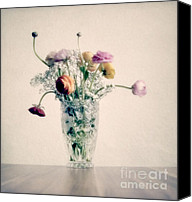 Orange Flower Photo Canvas Prints - Flowers in pastel Canvas Print by Kristin Kreet