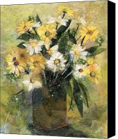 Signed Mixed Media Canvas Prints - Flowers in white and yellow Canvas Print by Nira Schwartz