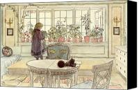 Floral Canvas Prints - Flowers on the Windowsill Canvas Print by Carl Larsson