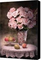 Roses Canvas Prints - Flowers With Fruit Still Life Canvas Print by Tom Mc Nemar