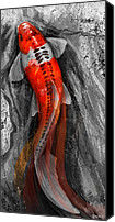 Koi Art Canvas Prints - Flowing Koi Canvas Print by Steve Goad