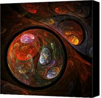 Black Framed Prints Digital Art Canvas Prints - Fluid Connection Canvas Print by Oni H