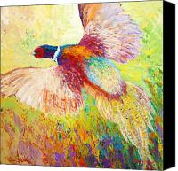 Blue Painting Canvas Prints - Flushed - Pheasant Canvas Print by Marion Rose