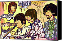 Beatles Pastels Canvas Prints - Flute Scene Canvas Print by Moshe Liron