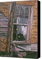 Egg Tempera Canvas Prints - Fluttering at the Window Canvas Print by Peter Muzyka