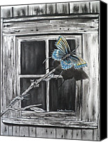 Charcoal Drawing Canvas Prints - Fly Away Free Canvas Print by Carla Carson
