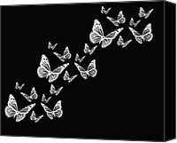Black And White Digital Art Digital Art Canvas Prints - Fly Away Canvas Print by Lourry Legarde