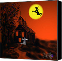 Haunted House Mixed Media Canvas Prints - Fly By Night Canvas Print by Kevin Caudill