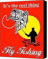 Fish Jumping Canvas Prints - Fly Fisherman catching largemouth bass Canvas Print by Aloysius Patrimonio