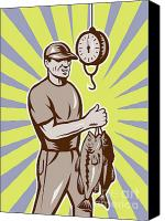Largemouth Bass Canvas Prints - Fly Fisherman weighing in fish catch  Canvas Print by Aloysius Patrimonio