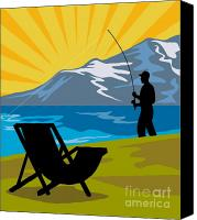 Camper Canvas Prints - Fly Fishing Canvas Print by Aloysius Patrimonio