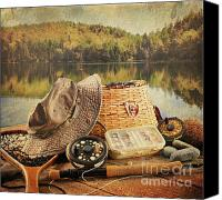 Freshwater Canvas Prints - Fly fishing equipment  with vintage look Canvas Print by Sandra Cunningham