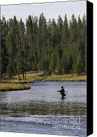 Flyfishing Canvas Prints - Fly Fishing in the Firehole River Yellowstone Canvas Print by Dustin K Ryan