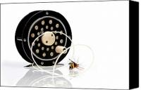 Bee Canvas Prints - Fly Fishing Reel with Fly Canvas Print by Tom Mc Nemar