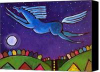 Night Out Painting Canvas Prints - Fly Free from Normal Canvas Print by Angela Treat Lyon