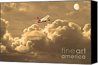 Airways Canvas Prints - Fly Me To The Moon . Partial Sepia Canvas Print by Wingsdomain Art and Photography