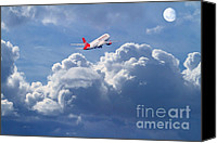 Airways Canvas Prints - Fly Me To The Moon Canvas Print by Wingsdomain Art and Photography