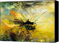 Insects Mixed Media Canvas Prints - Fly on the wall Canvas Print by Anne Weirich