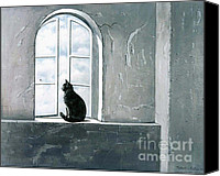 Oil Cat  Canvas Prints - Fly Watching Canvas Print by Robert Foster